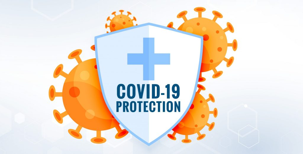 COVID19 coronavirus protection shield with virus cells